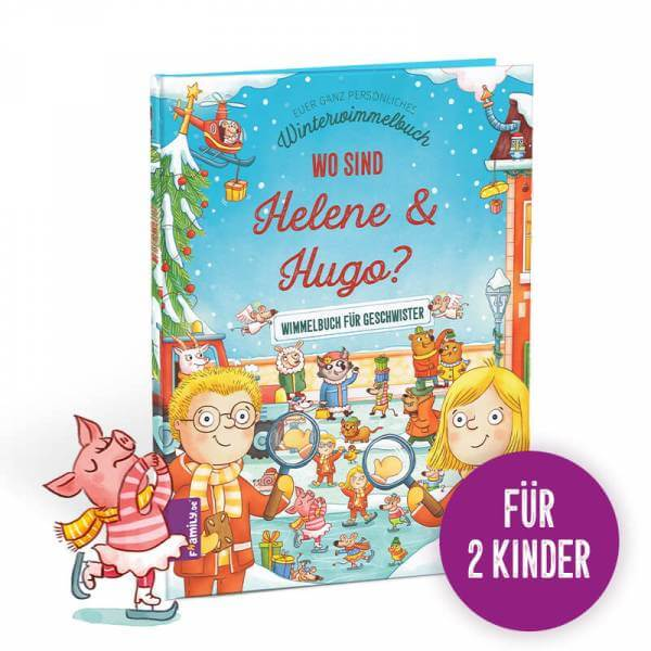 Personalisiertes Kinderbuch Winterwimmelbuch für Geschwister