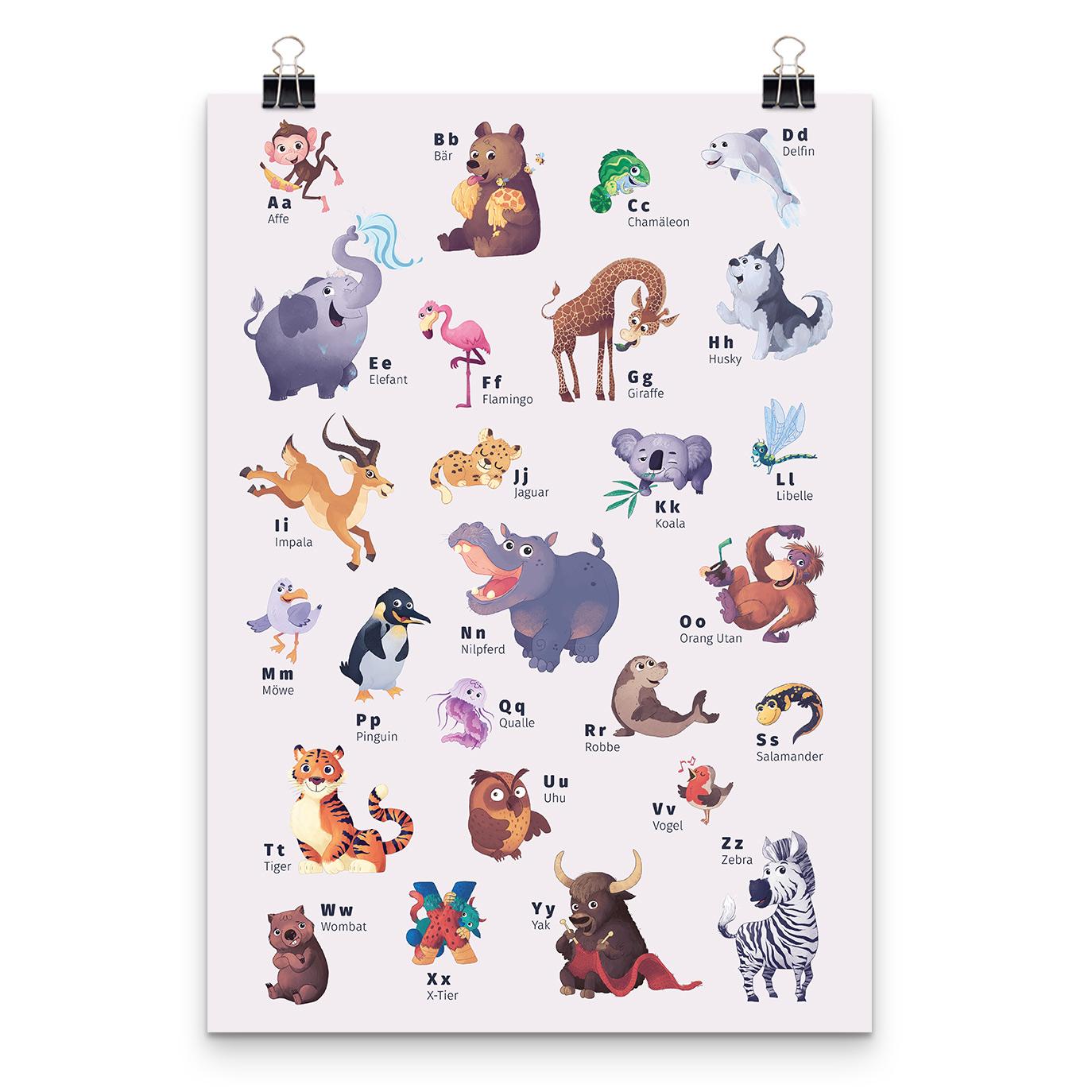Tier Abc Poster Personalisierte Kinderbucher Framily